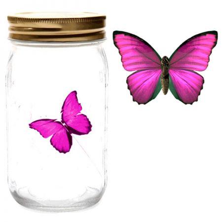 Электронная бабочка в банке Розовый Морфо с подсветкой