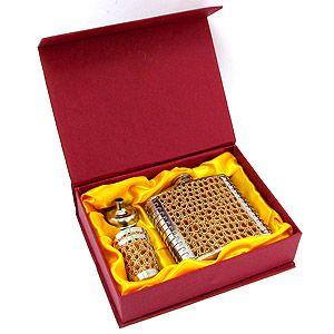 Подарочный набор с фляжкой золотой