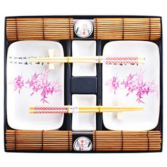 """Набор для суши на 2 персоны """"Бамбук"""" с ковриками розовый"""