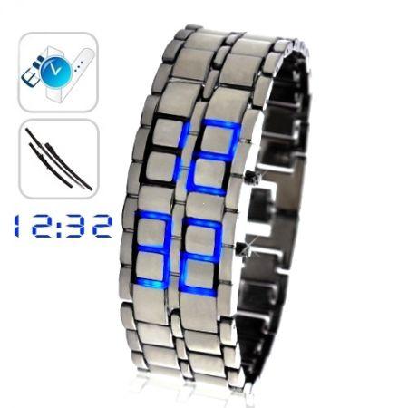 """Led Watch - часы """"Самурай"""" Iron Samurai бинарные наручные серебристые с синими диодами"""