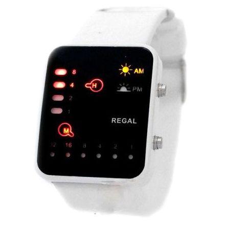 Led Watch - часы бинарные 8-32 наручные белые