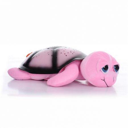 """Ночник-проектор звездного неба """"Черепашка с глазами"""" с музыкой цвет розовый"""