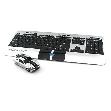 """Комплект беспроводная мышь и клавиатура """" Ford Mustang GT """" серебристый LANDMICE"""