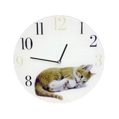 Настенные часы Котенок стеклянные  30 см